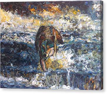 Canvas Print featuring the painting Wolf Crossing The River by Koro Arandia