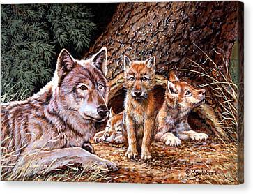 Wolf Den Canvas Print by Richard De Wolfe