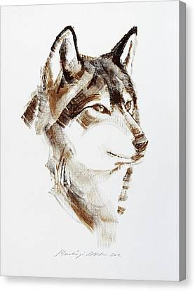 Wolf Head Brush Drawing Canvas Print by Attila Meszlenyi