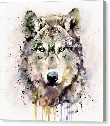 Contemporary Digital Art Canvas Print - Wolf Head by Marian Voicu