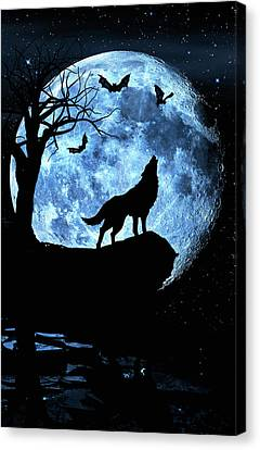 Wolf Howling At Full Moon With Bats Canvas Print by Justin Kelefas