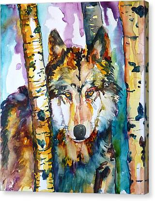 Wolf In Aspen Canvas Print by P Maure Bausch