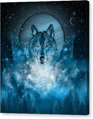 Cosmos Canvas Print - Wolf In Blue by Bekim Art
