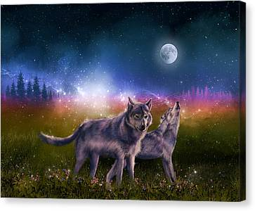 Surreal Landscape Canvas Print - Wolf In The Moonlight by Bekim Art