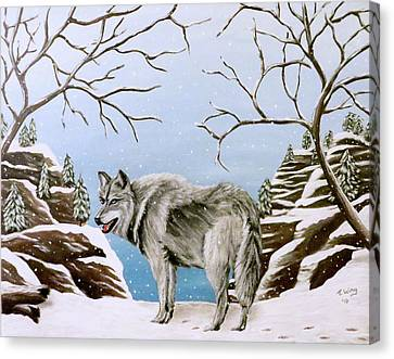 Canvas Print featuring the painting Wolf In Winter by Teresa Wing