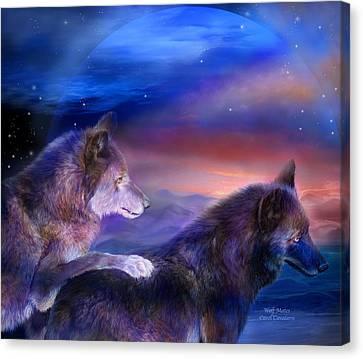 Wolf Mates Canvas Print by Carol Cavalaris
