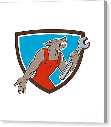 Wolf Mechanic Spanner Shield Cartoon Canvas Print