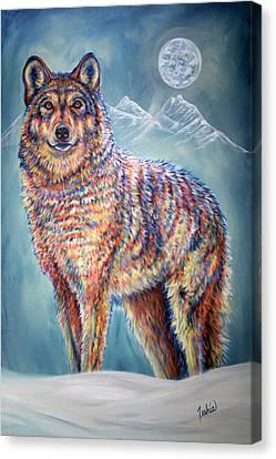 Wolf Moon Canvas Print by Teshia Art