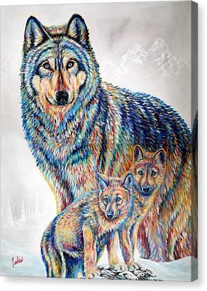 Wolf Pack Canvas Print by Teshia Art