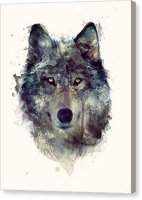 Wolf // Persevere Canvas Print by Amy Hamilton