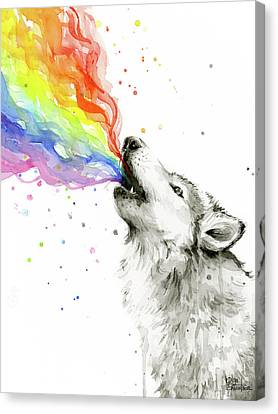 Wolf Rainbow Watercolor Canvas Print by Olga Shvartsur