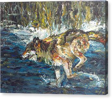 Canvas Print featuring the painting Wolf Running by Koro Arandia