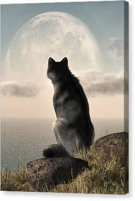 Wolf Watching The Moonrise Canvas Print by Daniel Eskridge