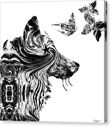 Wolf With Butterflies Canvas Print by Abstract Angel Artist Stephen K
