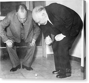 Wolfgang Pauli And Niels Bohr Canvas Print by Margrethe Bohr Collection and AIP and Photo Researchers