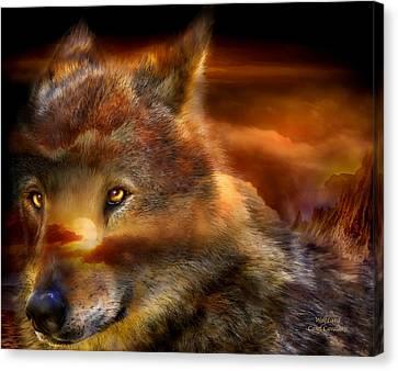 Wolfland Canvas Print by Carol Cavalaris