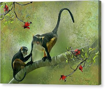 Canvas Print featuring the digital art Wolf's Guenon by Thanh Thuy Nguyen