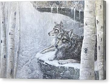 Wolves - Friends Forever Canvas Print