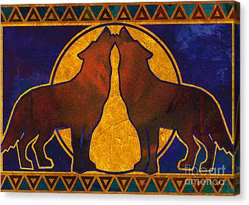 Wolves Howling At The Moon Canvas Print by Linda Henry