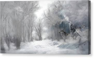 Canvas Print - Wolves In The Mist by Andrea Kollo