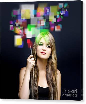 Woman Accessing Digital Media With Touch Screen Canvas Print