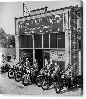 Canvas Print featuring the photograph The Motor Maids Of America Outside The Shop They Used As Their Headquarters, 1950. by Lawrence Christopher