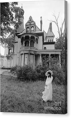 Woman And Abandoned Victorian House Canvas Print by H. Armstrong Roberts/ClassicStock