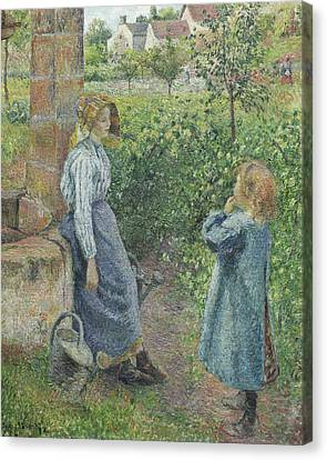 Woman And Child At The Well Canvas Print by Camille Pissarro