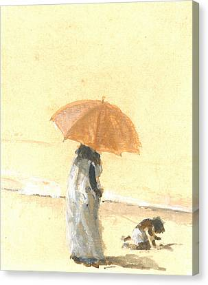 Woman And Child On Beach Canvas Print
