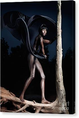Woman And Dead Tree Canvas Print by Oleksiy Maksymenko