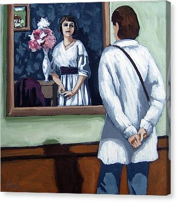 Woman At Art Museum Figurative Painting Canvas Print by Linda Apple