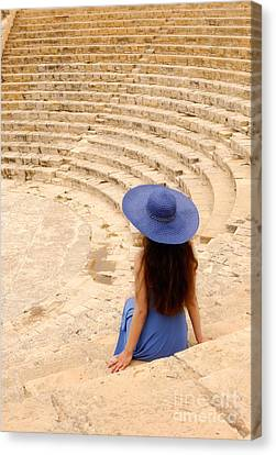 Woman At Greco-roman Theatre At Kourion Archaeological Site In C Canvas Print by Oleksiy Maksymenko