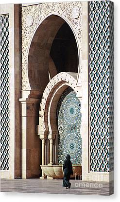 Woman At Mosque - Casablanca Canvas Print by Linda  Parker