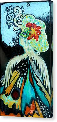 Woman At The Masquerade Ball Canvas Print by Genevieve Esson
