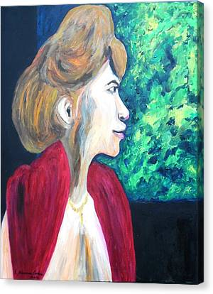 Canvas Print featuring the painting Woman At The Window by Esther Newman-Cohen