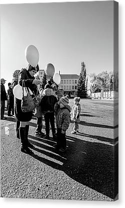 Canvas Print featuring the photograph Woman Balloon And Boy by John Williams