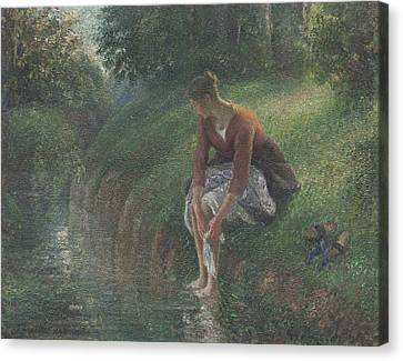 Woman Bathing Her Feet In A Brook Canvas Print