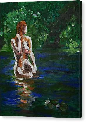 Woman Bathing In Lake Canvas Print by Regina WARRINER