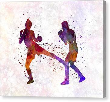 Woman Boxer Boxing Man Kickboxing Silhouette Isolated 02 Canvas Print by Pablo Romero