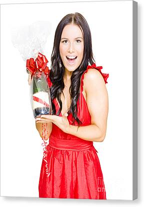 Woman Celebrating Success With Champagne Bottle Canvas Print by Jorgo Photography - Wall Art Gallery