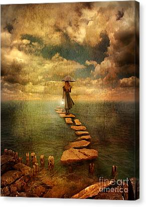 Woman Crossing The Sea On Stepping Stones Canvas Print by Jill Battaglia