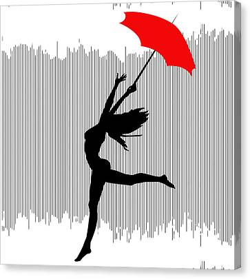 Woman Dancing In The Rain With Red Umbrella Canvas Print
