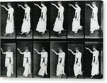 Woman Descending A Stairway Canvas Print by Eadweard Muybridge
