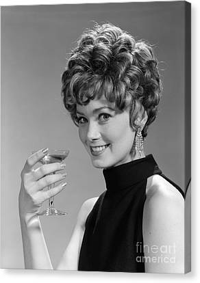 Bare Shoulder Canvas Print - Woman Drinking Champagne, C.1960s by H. Armstrong Roberts/ClassicStock