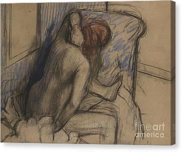 Hair-washing Canvas Print - Woman Drying Her Hair by Edgar Degas
