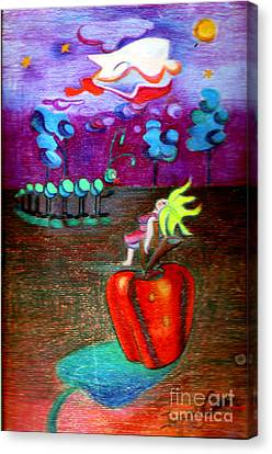 Woman Guarding The Apple Canvas Print by Genevieve Esson