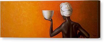 Woman Holding A Bowl Canvas Print by Horacio Cardozo