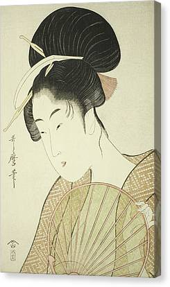 Woman Holding A Round Fan Canvas Print by Kitagawa Utamaro