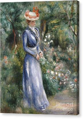 Woman In A Blue Dress Standing In The Garden At Saint-cloud Canvas Print