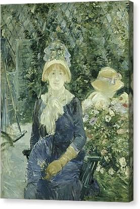 Woman In A Garden Canvas Print by Berthe Morisot